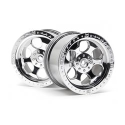 6 SPOKE WHEEL SHINY CHROME/2PC 83X56MM/SAVAGE 14MM HEX HUB