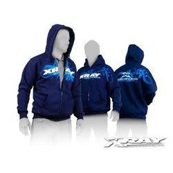 XRAY SWEATER HOODED WITH ZIPPER - BLUE (L)