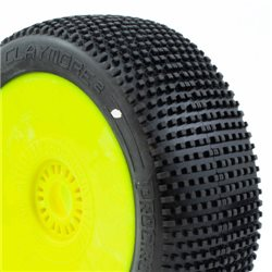 CLAYMORE v2 BUGGY C1 (SUPER SOFT) PRE-MOUNTED YELLOW (2pcs.)