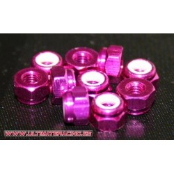 3 mm. ALU. NYLON NUT PINK (10pcs)