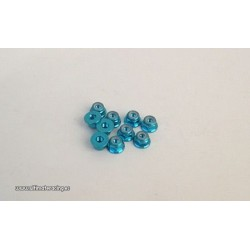 3MM. ALU. NYLON NUT W/FLANGED BLUE (10pcs)